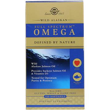 Solgar, Full Spectrum Omega, Wild Alaskan Salmon Oil, 120 Softgels