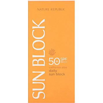 Nature Republic, Солнцезащитный крем для ежедневного использования, калифорнийское алоэ, SPF 50 PA++++, 1,92 жидких унции (57 мл)
