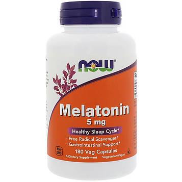 Now Foods, Мелатонин, 5 мг, 180 вегетарианских капсул