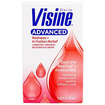 Visine, Улучшенные, стерильные, увлажняющие глазные капли, уменьшающие покраснение глаз, 8 мл