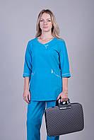 Женский медицинский брючный костюм бирюза (р.42-60)