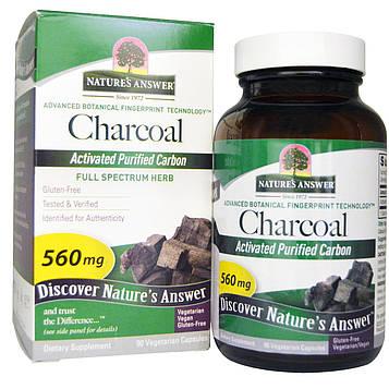 Natures Answer, Charcoal, Активированный очищенный уголь, 560 мг, 90 растительных капсул