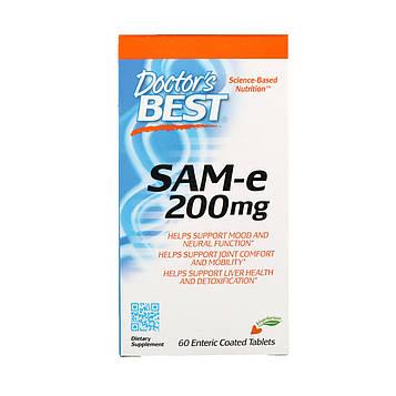 Doctors Best, S-аденозилметионин, 200 мг, 60 таблеток с кишечнорастворимой оболочкой