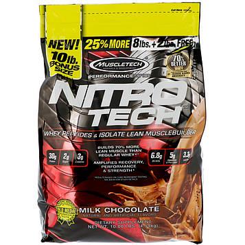 Muscletech, Серия Достижение, Nitro-Tech, Сывороточный изолят для формирования сухой мышечной массы, Молочный шоколад, 10 фунтов (4,54 кг)