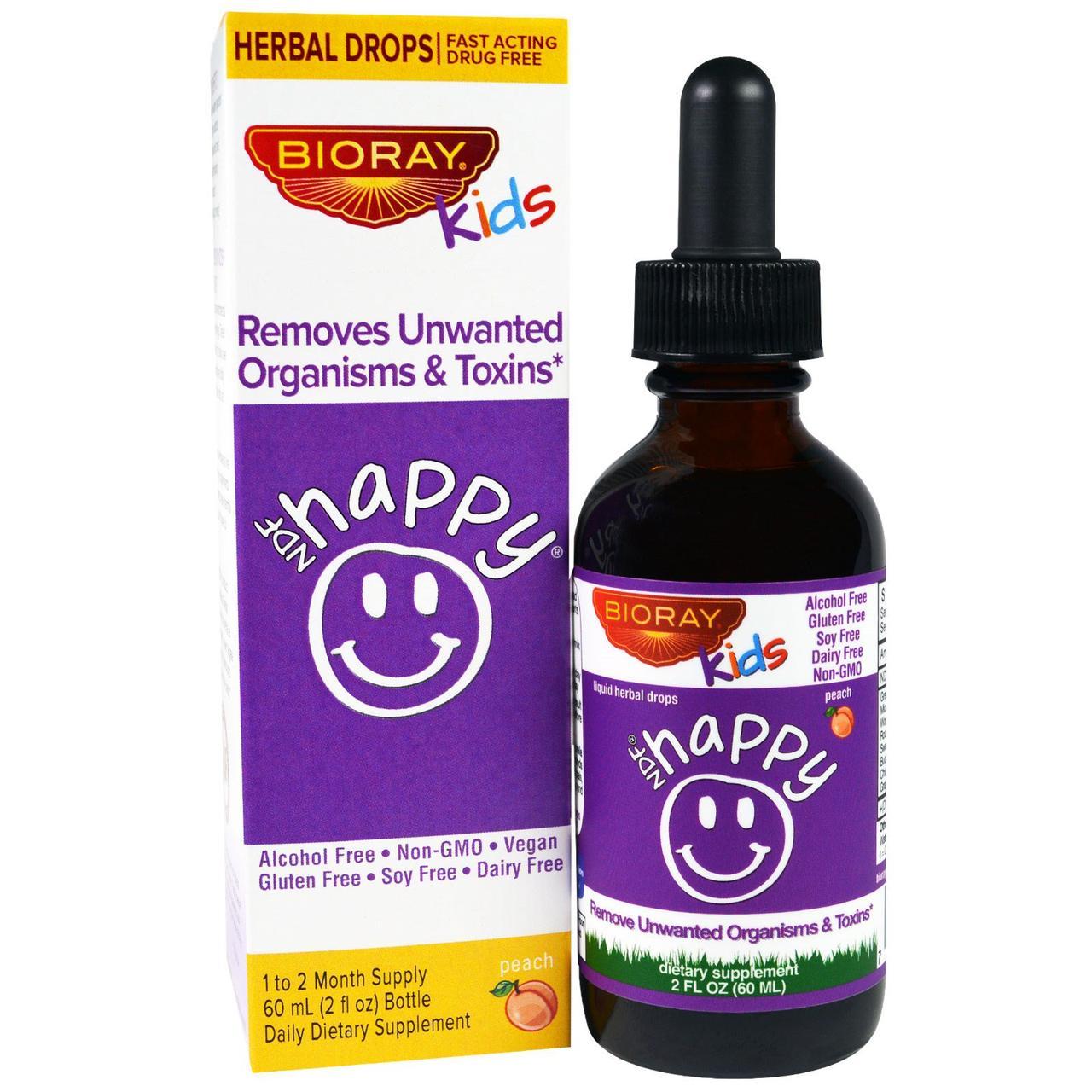 Bioray Inc., NDF Счастье, выводит нежелательные микроорганизмы и токсины,  для детей, персиковый вкус, 2 жид. унций (60 мл)