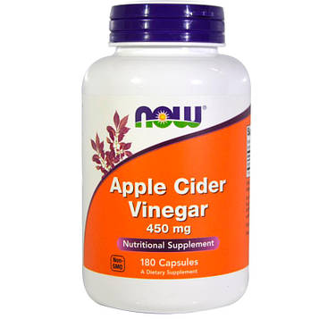 Now Foods, Яблочный уксус, 450 мг, 180 капсул