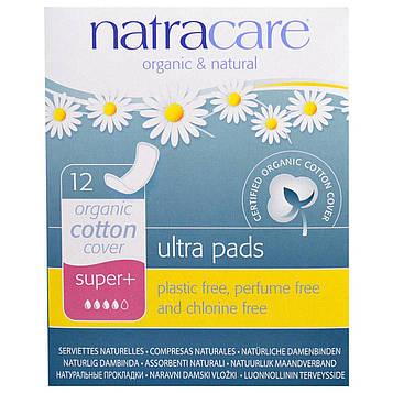 Natracare, Прокладки ультра, покрытие из органического хлопка, супер+, 12 штук