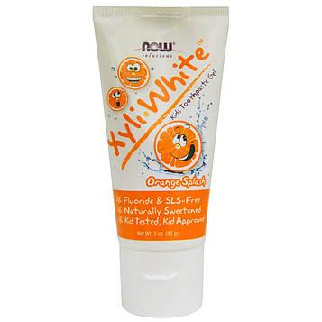 Now Foods, Xyli White, Зубная паста-гель для детей, Апельсиновый всплеск, 3 унции (85 г)