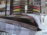 Сатиновое постельное белье полуторка ELWAY 3766
