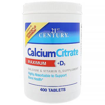 21st Century, Цитрат кальция + D максимум, 400 капсул