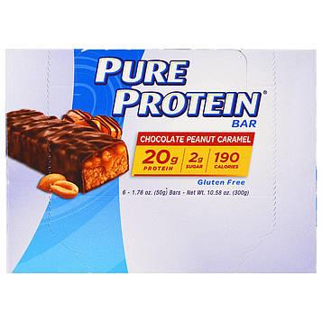 Pure Protein, Батончики с арахисом, шоколадом и карамелью, 6 батончиков, 1,76 унц. (50 г)