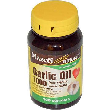 Mason Natural, Чесночное масло 1000, 100 мягких капсул