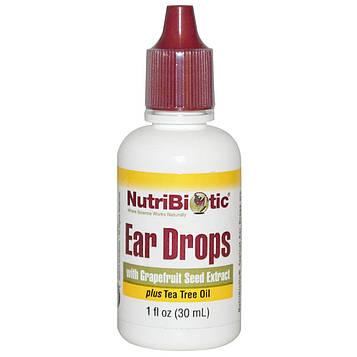 NutriBiotic, Капли для ушей с экстрактом семян грейпфрута, 1 жидкая унция (30 мл)