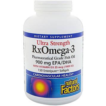 Natural Factors, Ultra Strength, ферменты Р икс Омега-3, с 1000 МЕ витамина D3, 150 мягких желатиновых капсул