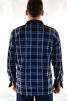 Рубашка мужская флисовая в клетку на пуговицах с контрастной планкой, фото 3