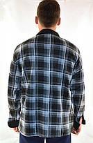 Рубашка мужская флисовая в клетку на пуговицах с контрастной планкой, фото 2