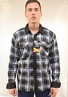 Рубашка мужская флисовая в клетку на пуговицах с контрастной планкой