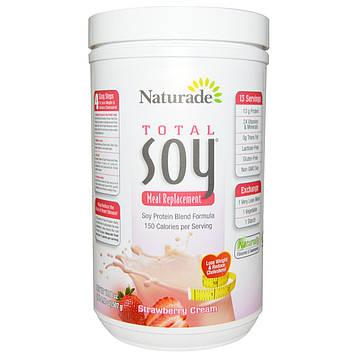 Naturade, Абсолютная соя (Total Soy) 100% натуральный заменитель пищи, клубника со сливками, 17,88 унции (507 г)