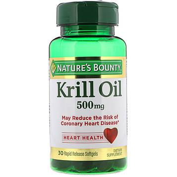 Natures Bounty, Масло криля, 500 мг, 30 быстро высвобождаемых мягких капсул
