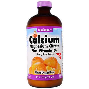 Bluebonnet Nutrition, Жидкий кальция и магния цитрат плюс витамин D3, натуральный апельсиновый вкус, 16 жидких унций (472 мл)