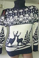 Свитер под горло с оленями/ снежинками женский (шерсть/ акрил), фото 1