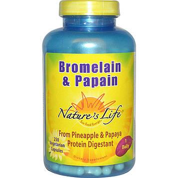 Natures Life, Бромелайн и папаин, 250 вегетарианских капсул