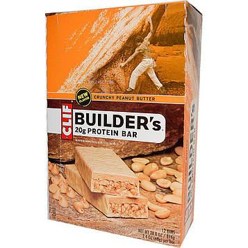 Clif Bar, Протеиновый батончик Builders, 20 г, хрустящее арахисовое масло, 12 баточников, по 68 г (2,4 унции) каждый