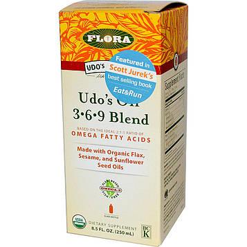 Flora, Organic, Udos Choice, масло удо, 3.6.9 смесь 8.5 жидких унции (250 мл)