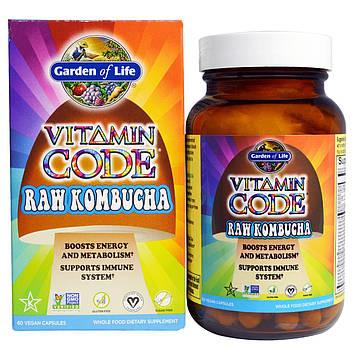 Garden of Life, Vitamin Code, Сырой комбуча, 60 веганских капсул UltraZorbe