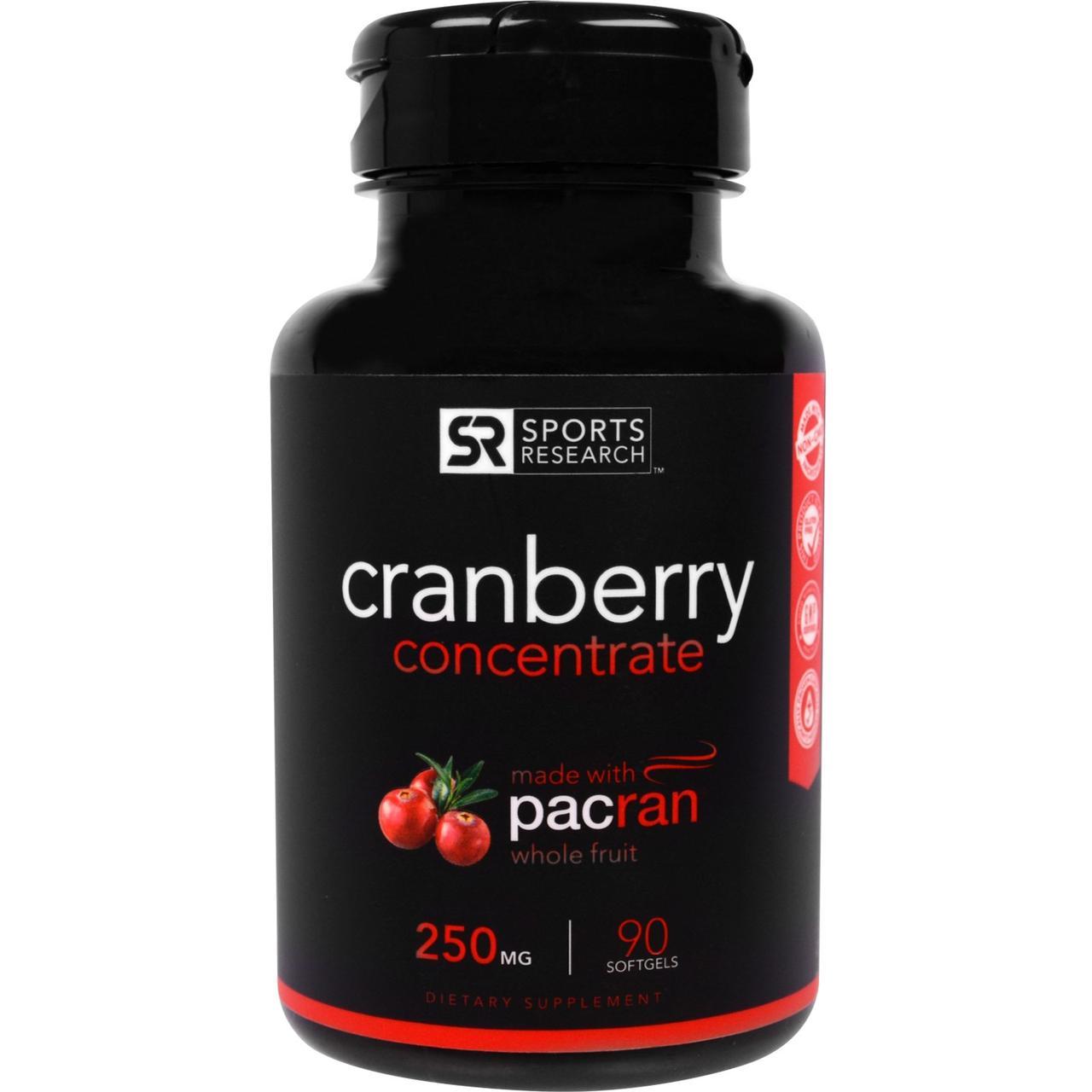 Sports Research, Клюквенный Концентрат, 250 мг, 90 Желатиновых капсул