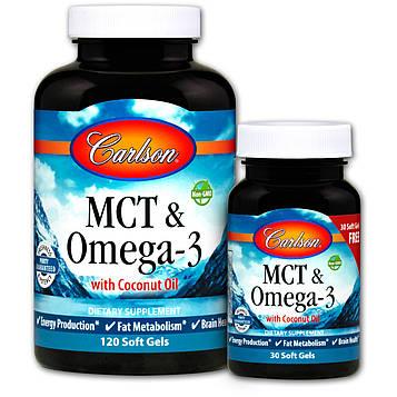 Carlson Labs, MCT и Омега-3, 120 Мягких Капсул + 30 Мягких Капсул