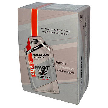Clif Bar, Энергетический гель Shot Turbo, шоколадная вишня + кофеин, 24 пакетика, по 1,2 унции (34 г) каждый