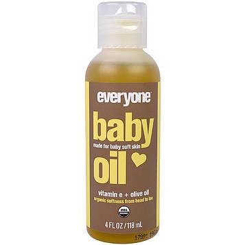 Everyone, Органическое детское масло с витамином E и оливковым маслом, 4 жидких унции (118 мл)