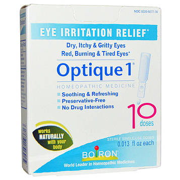 Boiron, Optique 1, снятие раздражения глаз, 10 доз, 0,013 жидкой унции каждая