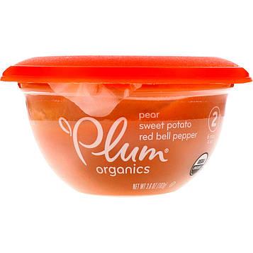 Plum Organics, Детское питание в миске, этап 2, груша, батат, красный болгарский перец, 102 г