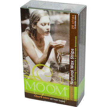 Moom, Натуральные восковые полоски с добавлением успокаивающей ромашки и лаванды, 20 полосок