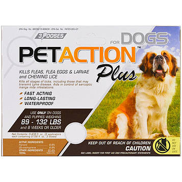 Pet Action Plus, For Xlarge Dogs, 3 Doses - 0.136 fl oz Each