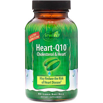 Irwin Naturals, Heart-Q10, Холестеринисердце, 84 мягкие капсулы с жидким наполнителем