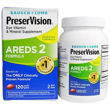 Bausch & Lomb, AREDS 2 Formula, витамины и микроэлементы для глаз, 120 мягких капсул