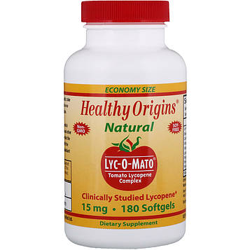 Healthy Origins, Lyc-O-Mato, Ликопин-комплекс, 15 мг, 180 желатиновых капсул