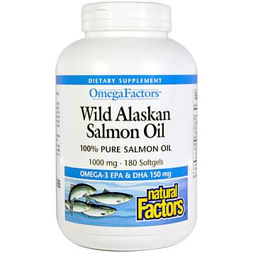 Natural Factors, Omega Factors, рыбий жир из дикого аляскинского лосося, 1000 мг, 180 желатиновых капсул