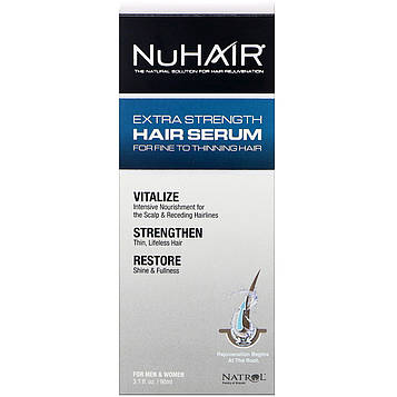 Natrol, NuHair, сильнейшая сыворотка для волос, подходящая мужчинам и женщинам, 3,1 ж. унц. (90 мл)
