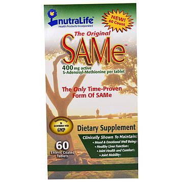 NutraLife, Оригинальный SAMe (S-аденозилметионин), 400 мг, 60 покрытых оболочкой кишечнорастворимых овальных таблеток
