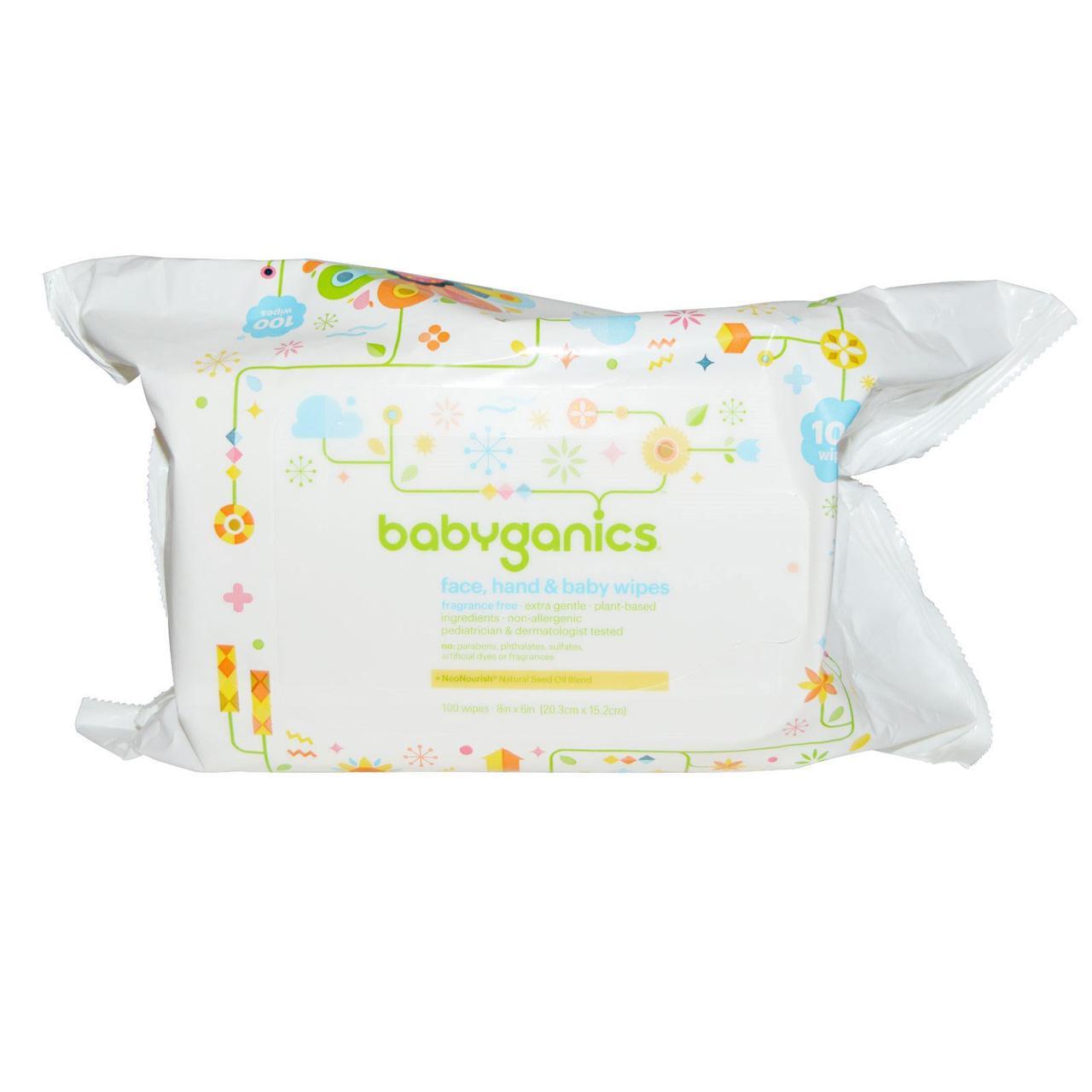 BabyGanics, Thick n Kleen, Мягкие салфетки для ухода за кожей малышей, Неароматизированные, 100 салфеток