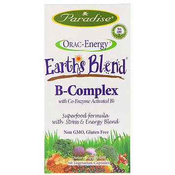 Paradise Herbs, Orac-Energy, Earths Blend, B-Complex with Co-Enzyme Activated Bs, 60 Vegetarian Capsules