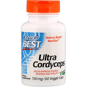 Doctors Best, Ultra Cordyceps, 750 мг, 60 вегетарианских капсул