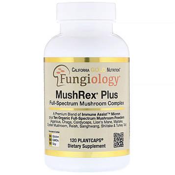 California Gold Nutrition, Микология, MushRex Plus, грибной комплекс полного спектра, сертифицированный органический, Immune Assist™ Микрон, 120
