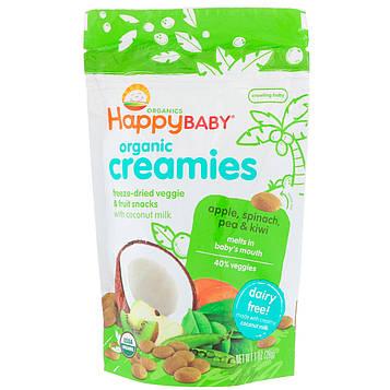 Nurture Inc. (Happy Baby), Органические мягкие кружочки, сублимированные овощи и фрукты, яблоко, шпинат, горох и киви, 1 унц. (28 г)