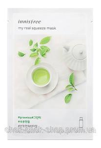 Тканевая маска с экстрактом зелёного чая Innisfree It's Real Squeeze Mask Green Tea