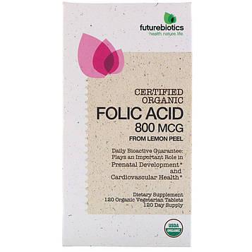 FutureBiotics, Фолиевая кислота из лимонной цедры, 800 мкг, 120 органических растительных пастилок